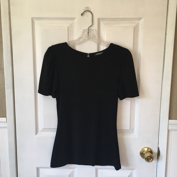 Express Tops - Fitted black blouse with puff sleeves, EUC